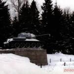 """Памятник боевому орудию """"Танк-34"""". Установлен 4 декабря 1966 года в присутствии Маршала Советского Союза К.К. Рокоссовского"""