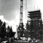 40 км Ленинградского шоссе. Строительство монумента у братской могилы. Фото Э. И. Дашков