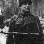 Комиссар 1073 стрелкового полка 8-й гвардейской стрелковой дивизии, батальонный комиссар П.В. Логвиненко. 8.04.1942 г.
